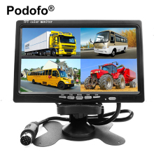 Podofo 7 Inch 4 Split Screen Car Monitor 4 Channels TFT LCD Display DC 12V for Reversing Camera System Car Rearview Monitor(China)