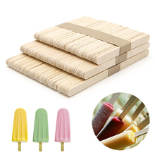 50pcs/lot Ice Cream Tools Funny Ice Cream Stick New Wooden Popsicle Stick DIY kids handmade making Crafts kids gift(China)