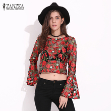 Buy ZANZEA Brand Blusas 2017 Women Blouses Tops Sexy Vintage Floral Embroidery Mesh Shirts Flare Sleeve Long Sleeve Crop Tops for $11.45 in AliExpress store