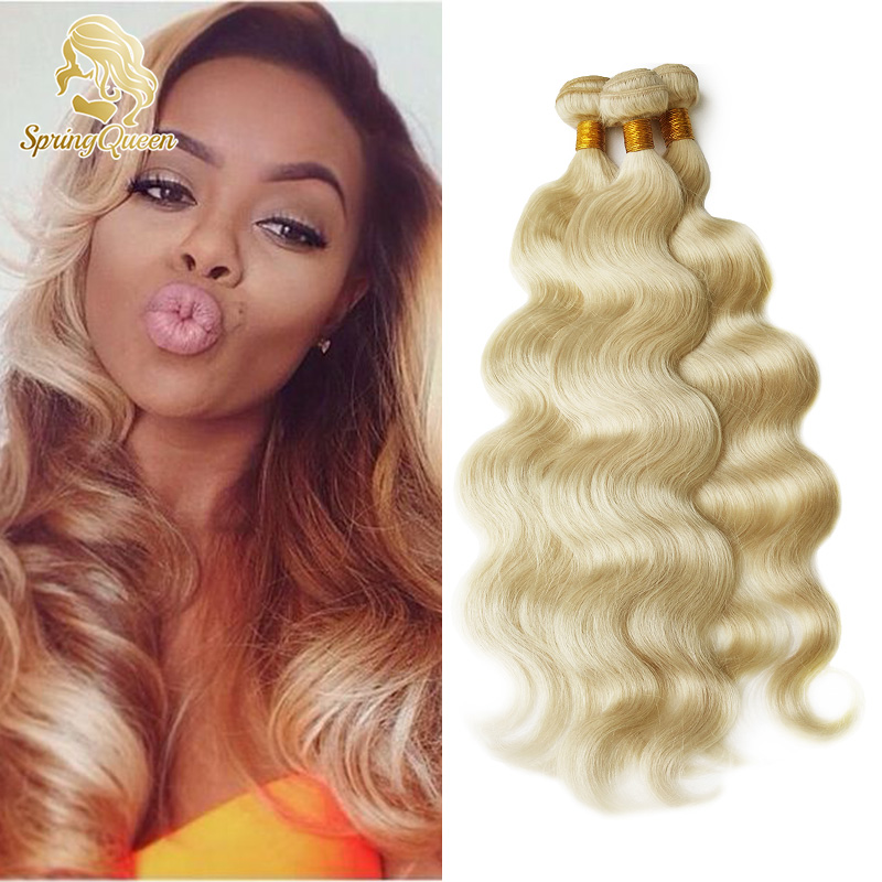Cheap Blonde Brazilian Hair Body Wave 4 Pcs Lot Honey Blonde 613 Brazilian Body Wave Human Hair Weave Bundles Spring Queen Hair<br><br>Aliexpress
