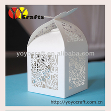 Butterfly wedding favor boxes customized laser cut pearl white favor box
