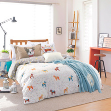 Cotton fabric horse animal comforter bedding set 4/5pc elegant cartoon quilt duvet cover queen full size kids bed sheets decor