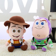 2017 new anime Toy Story 3 Woody the cowboy doll police plush toys and buzz lightyear doll 20cm birthday gift 2pcs/lot(China)