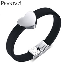 Hot Adjustable Size Stainless Steel Heart Bracelet For Women Or Men Silicone Charm Bracelets & Bangles Couples Lovers(China)