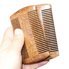 New Boutique Green Sandalwood Comb Gold Wire Sandalwood Bar Comb Handmade Beard&Hair Combs for Women Natural Beautiful Wood(China)