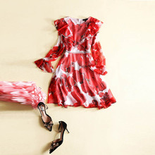 Europe Fashion 2017 Spring Arrival Silk Cute O-Neck Flare Sleeve Red Print Ruffles Best Quality Elegant Above KneeDress Women