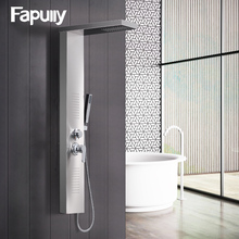 Fapully Brushed Nickel Wall Mounted Shower Panels Rainfall Waterfall Shower Faucet Rain Massage System with Handshower Column(China)