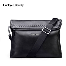 LUCKYER BEAUTY  Men's Messenger Bag Men Shoulder Bag Casual Soft Genuine Leather Crossbody   Bags Woven Pattern Simple Male Bag
