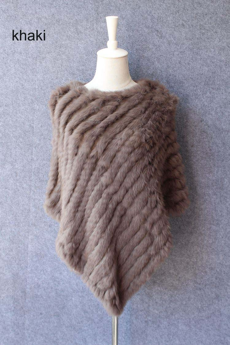 natural knitted rabbit fur scarf wraps (1)