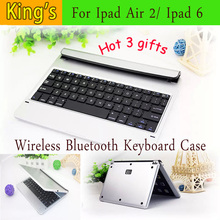 Newest Case Cover Wireless Built-in Bluetooth 3.0 ABS Keyboard For IPad AIR 2 Original Bluetooth case For IPAD 6 +3gifts(China)