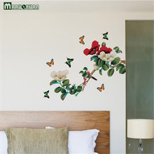 Classic Chinese Culture Rich Green Flowers Can Remove The Green Living Room Sofa Stickers Bedroom Bed TV Background Wall Sticker