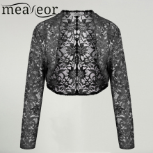 Meaneor Brand Knit Bolero Shrug Women Casual 3/4 Sleeve Lace Floral Light Crop Open Stitch Cardigan Short All-match Shawl Wrap(China)