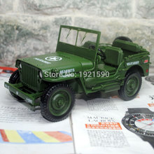 YJ 1/18 Scale Car Model Toys World War II U. S. Army Willys JEEP Diecast Metal Car Toy New In Box For Gift/Kids/Collection