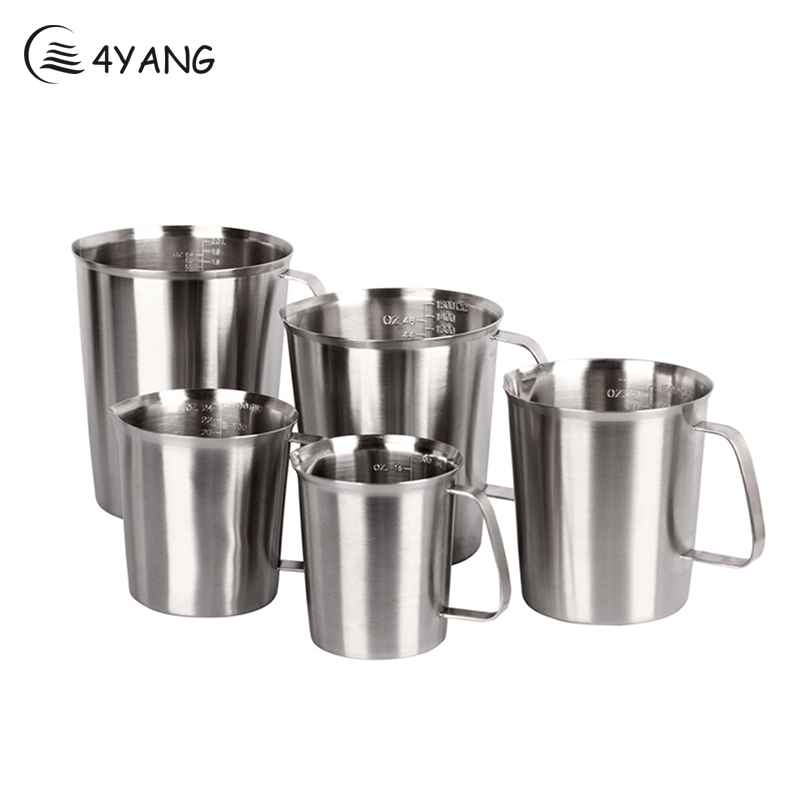 4YANG 500ml 1000ml 2000ml Japanese Style Coffee Mugs Milk Pots Coffee Garland Cup Latte Jug Thickened Stainless Steel Scale cup(China (Mainland))