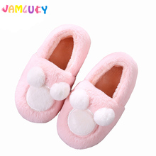 Cute Slippers Children Cartoon Indoor Home Slippers Girls Boys Warm Shoes Plush Pantufas Kids TPR Soft Bottom zapatillas