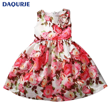 2017 New 1pcs Girls Cute Dresses Trendy Birthday Summer Party Flower Girl Dresses elsa kids clothes 1-7 years Free shipping
