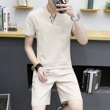 2017 autumn couples cotton pajamas men's short sleeved cotton household suit sleepwear(China)