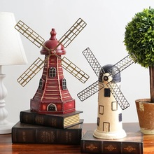 Retro Dutch Windmill Model Craft Decoration Coffee Shop Living Room TV Cabinet Wine Cabinet Ornaments Creative Furnishings