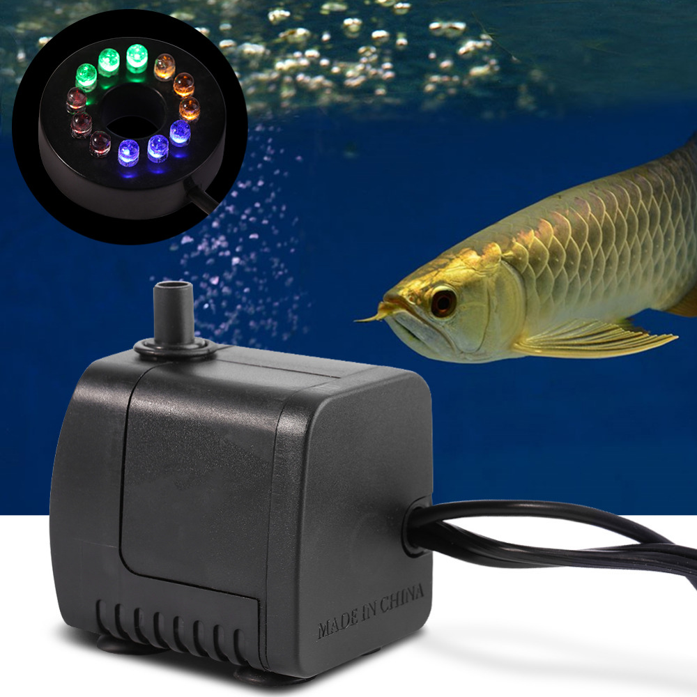 15W 800L/h Water Pump with 12 Color LED Light Submersible Fountain Pool Fish Tank Aquarium Fountain Pond Pool Pumps Decoration(China (Mainland))