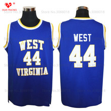 Top West Virginia Mountaineers HS #44 Jerry West Jerseys Throwback College Basketball Jersey Vintage Retro For Mens Shirts Sewn(China)