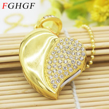 FGHGF Diamond crystal heart USB Flash drive metal Memory Stick penrive 4GB 8GB 16GB 32GB U disk free shipping