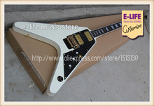 Custom Shop Flying V Electric Guitar Ebony Fretboard Gold Floyd Tremolo White Pearl Block Inlay Chinese Musical Instrument