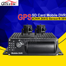 GPS Car Dvr,4CH H.264 Vehicle Mobile Dvr With 2Pcs Mini Cameras. G-sensor I/O Alarm Motion Detection CCTV Security System Mdvr