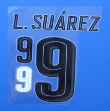 2017 Uruguay 9 L.SUAREZ custom football number font print ,stamping Soccer patches badges