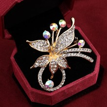 Elegant Peacock Butterfly Rhinestone Brooch Pin Bee Leopard Music Note Simulated Pearl Fashion Brooches Flower Crown Brooch Gift(China)