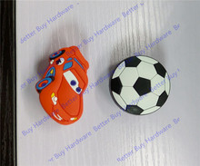 20pcs Red car Shaped /Football style Cabinet handles /Dresser Pulls Children Room Drawer Accessories Soft Rubber Furniture Knobs