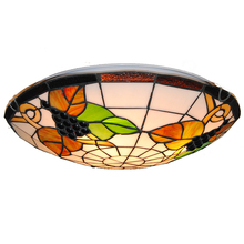 Tiffany Vintage Grape Pattern Lamp 3-lights European Style Stained Glass Flush Mount Ceiling Lighting Fixture For Bar Cafe CL280