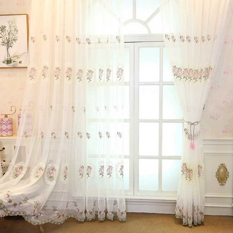 Embroidered Tulle Curtains Window Modern floral Curtains for Living Room Bedroom Kitchen European tulle Window Drapes curtain