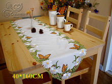 Garden Simple High-grade Embroidered Tablecloths Table Towel Daisy Nabi Table Runner Cover Towel Placemat Big Size A-85