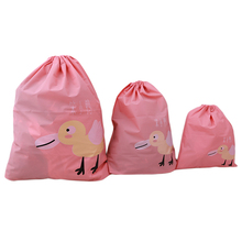 3PCs/ Set Cartoon Printed Drawstring Storage Bags Waterproof Shoes Laundry Bags Foldable Home Organizer Travel Organizer Set(China)