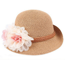 Khaki Color Children's Baby Girl Kids Sun Hat Summer Lovely Fashion Straw Hat Beach Cap for 2-7 Year Toddlers Infants