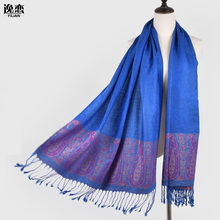 YI LIAN Brand New Arrival Women Cotton Scarf Fringe Ends Designer Scarves Fashion Flower Pashmina Shawl 190*70cm JB012