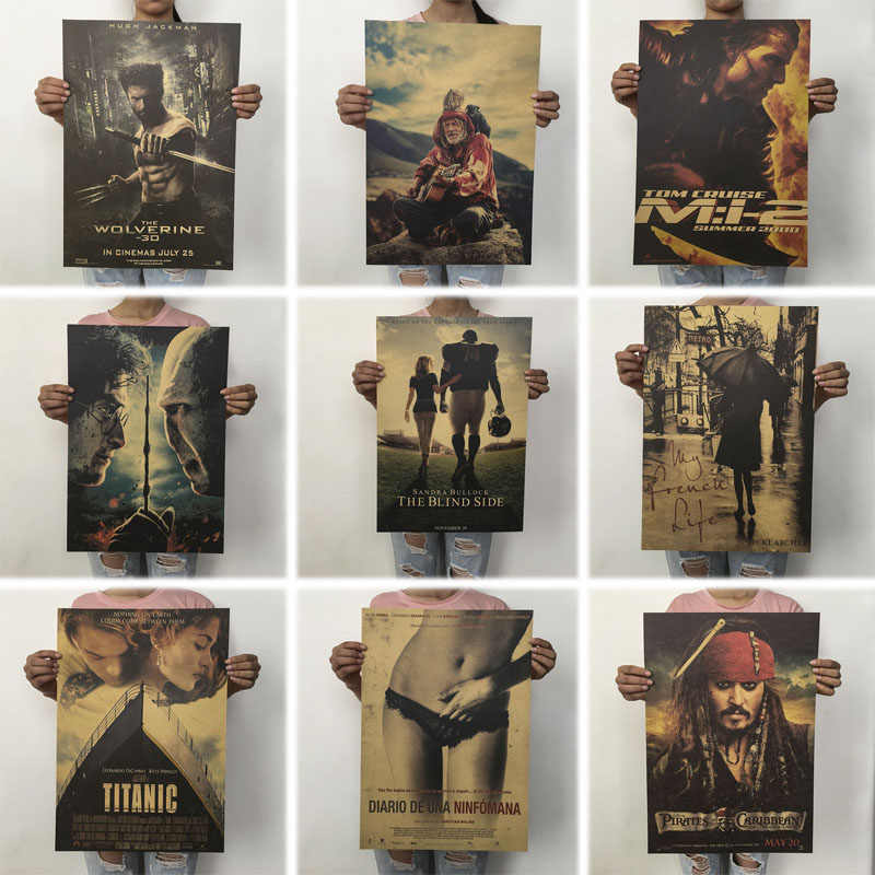 mling 1PC 51.5x36cm Retro Movie Poster Kraft Paper Posters Classic Poster Bar Home Decoration Painting Wall Sticker