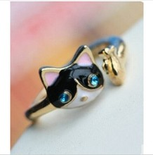 Korean jewelry fashion personality drip ring kittens   CRD40