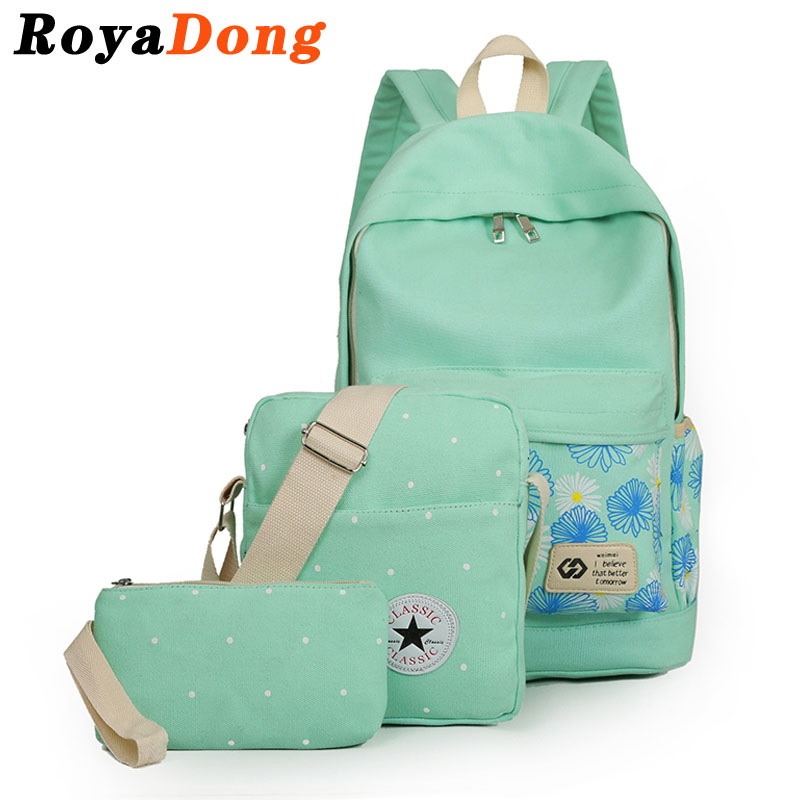 RoyaDong Flowers Printing Women Backpack Set School Bags For Teenage Girls Canvas Printing Candy Color 2017 Bag Set For 3 Pieces(China (Mainland))