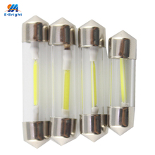 Wholesale!! 50PCS COB Chips C5W 31mm 36mm 39mm 41mm Car Interior Glass lens Festoon Dome Reading LED 12V DC White Bulbs(China)
