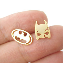 Shuangshuo Batman Themed Bat Mask and Logo Shaped Stud Earrings for Women DC Comics Super Heroes Earrings Fashion Jewelry ED076(China)