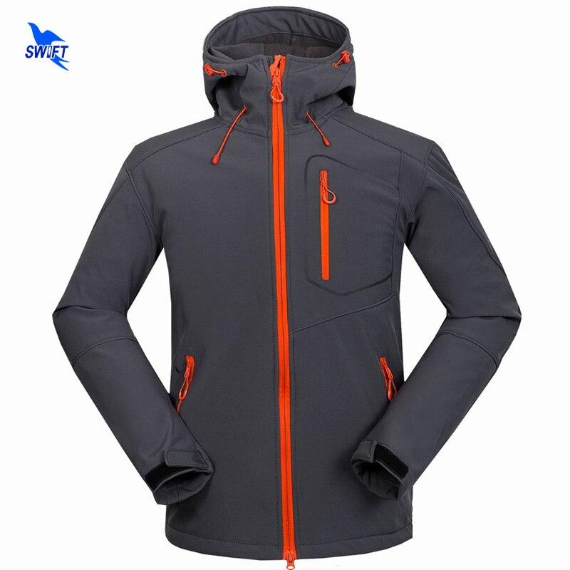 Custom Support Tech Fleece Hooded Softshell Jacket Men Windproof Mountain Climbing Hiking Clothing Waterproof Fishing Ski Coat<br>
