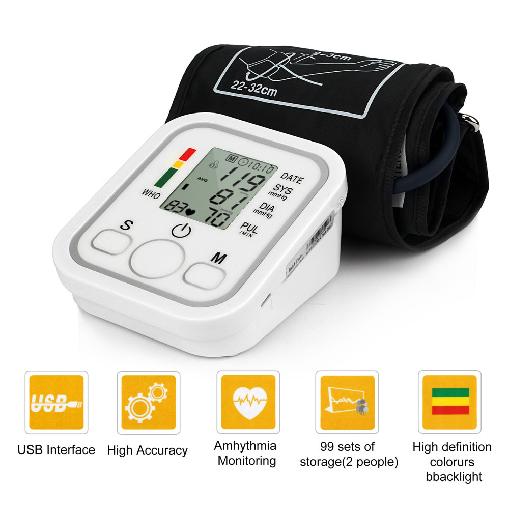 Health Care Household Professional Doctor's Digital Arm Blood Pressure Pulse Tonometer Meter Portable Accurate Home Use Monitor 10