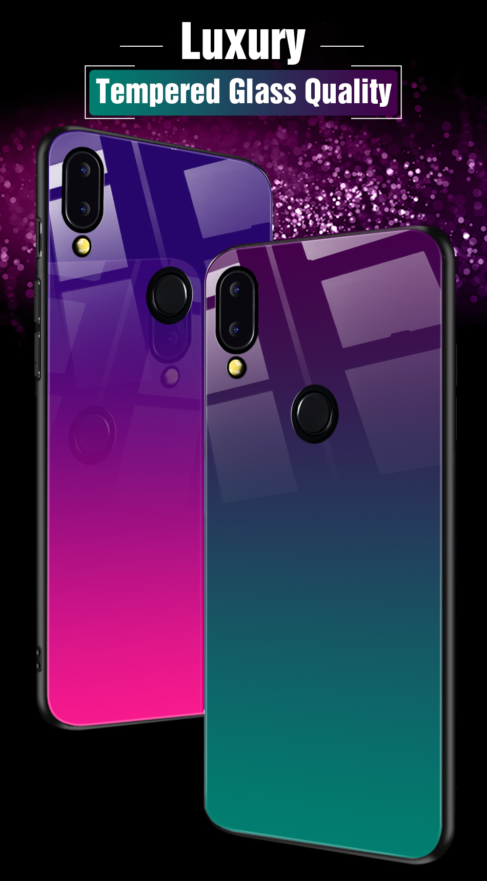 Gradient Glass Back Case For Huawei P20 Lite P Smart Plus Nova 3i Case Luxury Silicone Case For Huawei Honor 10 9 Lite 8X Coque (2)