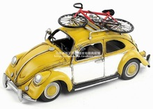 Antique classical car model retro vintage metal crafts Beatles with a bicycle for home/pub/cafe decoration or birthday gift
