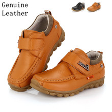 Free shipping 1pair Genuine Leather Shoes Children Sneakers Sports Cheap Boy shoes,breathable kid shoes(China)