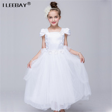 High Quality Girl Long Lace Princess Dresses For Weddings Child Birthday Party Gown Girls Evening Costume Children Piano Perfor