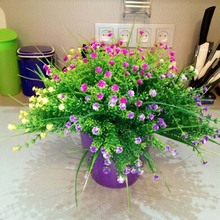 2016 New 1 Branch Small Artificial Plants Grass Fake Floral Plastic Silk Eucalyptus Flowers For Hotel Wedding Table Decor