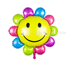 Lucky 50pcs/lot 82*85cm Colorful Rainbow Sunflower Balloon Foil Air Balloons Party Wedding Decoration Globos Kids Classic Toys