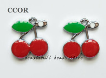 CCOR 10pcs DIY accessory zinc alloy Enamel Cherry Hang Pendant, Hang Charms Fit Diy Phone Strips free shipping,DZ0003